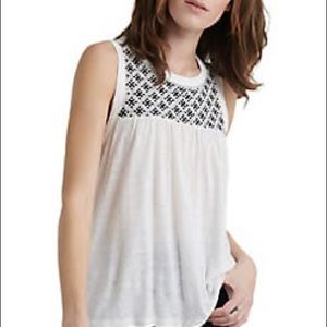 🍀{Lucky Brand} Black/Cream Embroidered Tank🍀